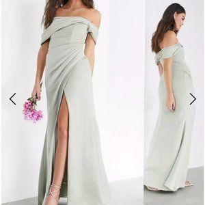 ASOS Edition Satin Bardot Drape Wrap Maxi Dress in Sage Green sz 4